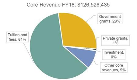 FRCC Revenue Chart: Tuition & Fees 60%, Government Grants 30%, Other 9%, Private Grants 1%