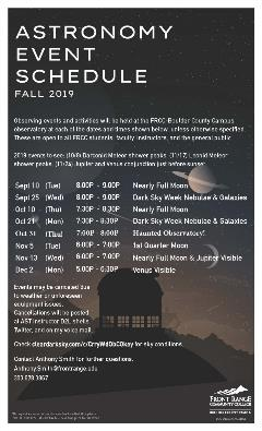 Astro Schedule Fall 2019