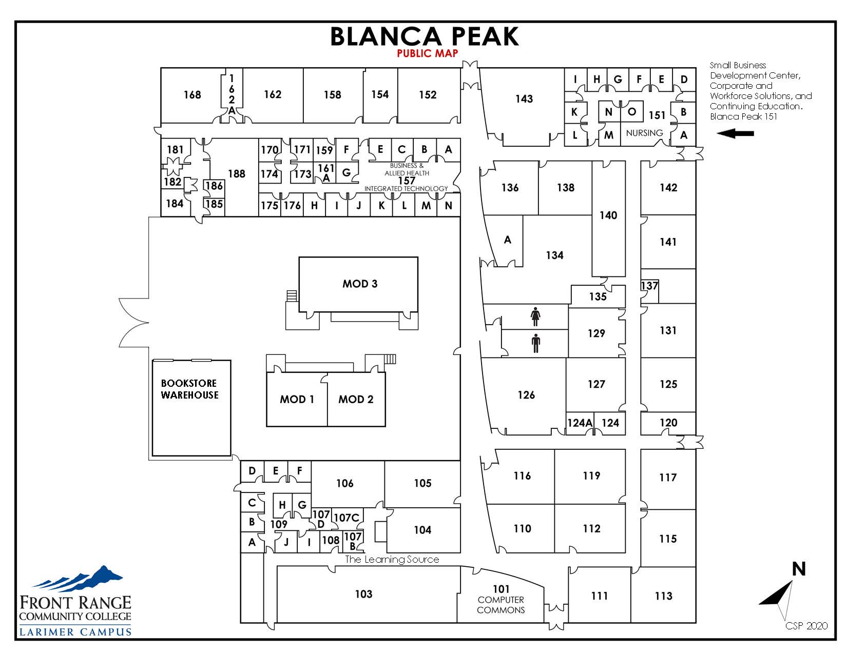 Map of Larimer Campus - Blanca Peak