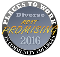 Diverse Most Promising Places to Work in Community Colleges 2016 circular badge